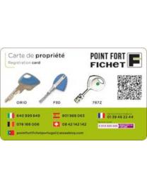Ownership cards FICHET 787S et 787Z
